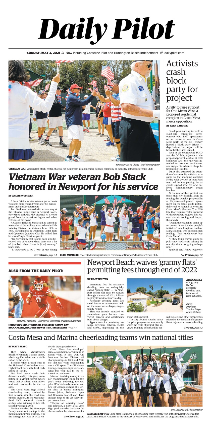 Front page of Daily Pilot e-newspaper for Sunday, May 2, 2021.