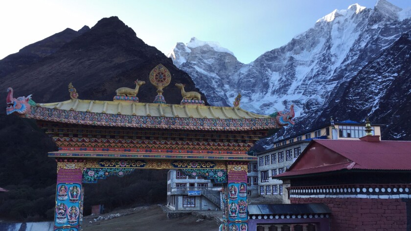 The Buddhist monastery gate at the entrance of the small village of Tengboche, elevation 12,664 feet.