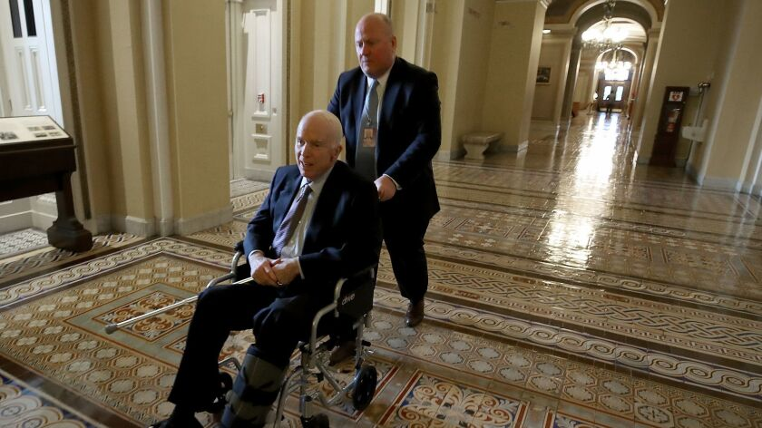 Sen. John McCain at the Capitol in November after cancer treatment.