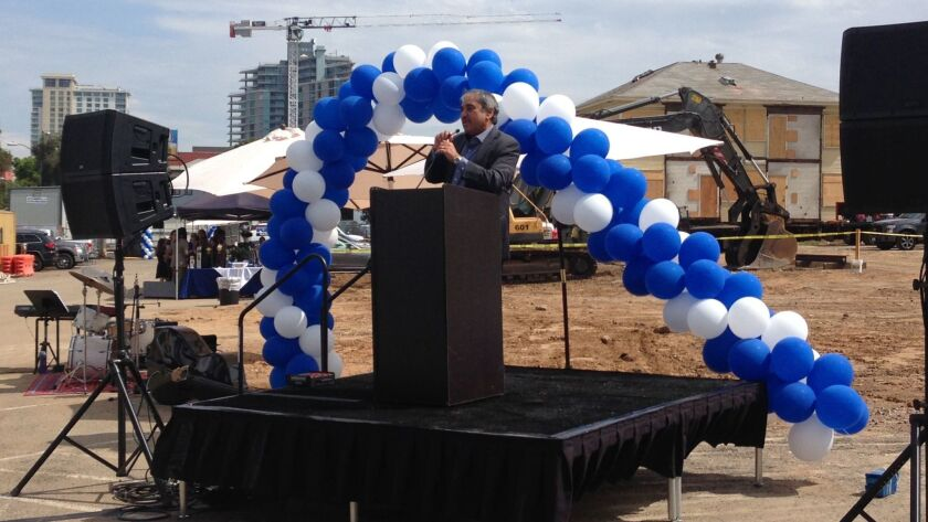 UC San Diego addresses the ground-breaking ceremony for Park & Market.