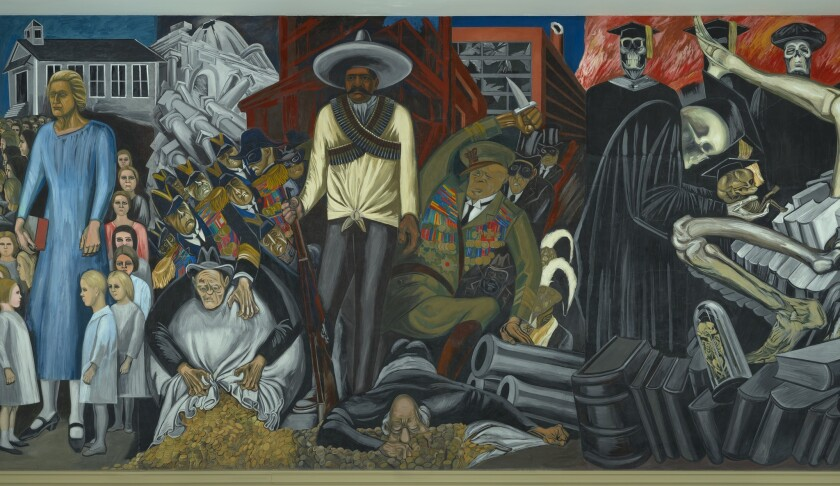 """A detail from Jose Clemente Orozco's mural """"The Epic of American Civilization,"""" represented digitally at the Philadelphia Museum show."""
