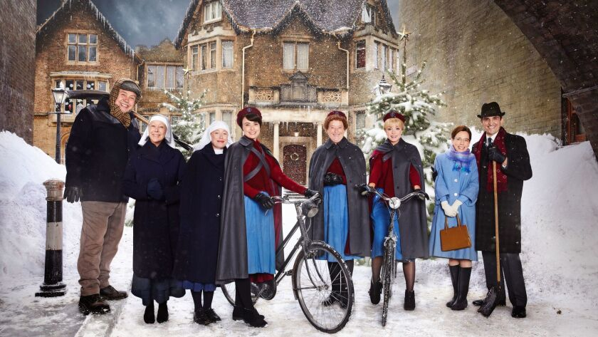 """""""Call the Midwife"""": Cliff Parisi, left, as Fred Buckle, Jenny Agutter as Sister Julienne, Victoria Yeates as Sister Winifred, Jennifer Kirby as Valerie Dyer, Linda Bassett as Nurse Phyllis, Helen George as Trixie, Laura Main as Shelagh Turner, Stephen McGann as Dr Patrick Turner."""