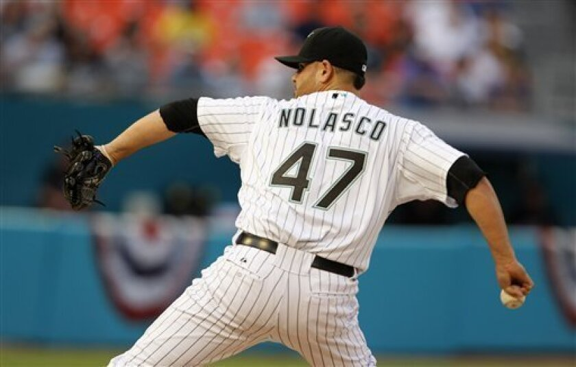 Florida Marlins starting pitcher Ricky Nolasco (47) throws in the first inning during a baseball game against the New York Mets in Miami, Saturday, April 2, 2011. (AP Photo/Lynne Sladky)