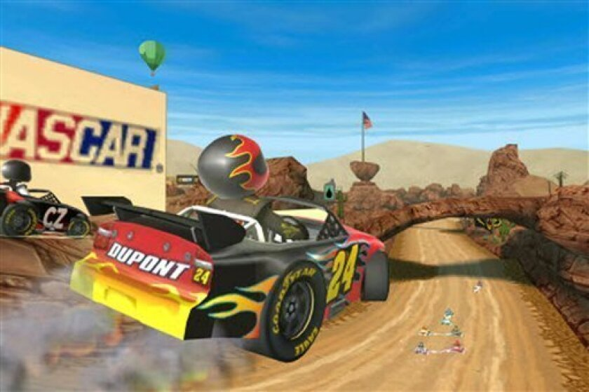 """In this screen image released by EA Sports, a scene is shown from """"NASCAR Kart Racing."""" (AP Photo/EA Sports)"""