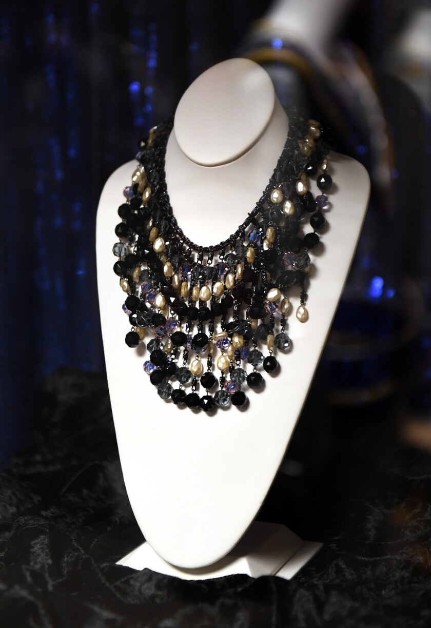 """A necklace worn by Audrey Hepburn in """"Breakfast at Tiffany'™s"""" is displayed in the Paramount archives."""