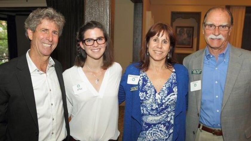 Bill Toone (left) with Erica Holland, Nancy Kelly (San Diego Botanic Garden, Director of Development), Julian Duval (President/CEO, San Diego Botanic Garden) at the RSF Garden Club Annual Meeting held last year in Rancho Santa Fe.