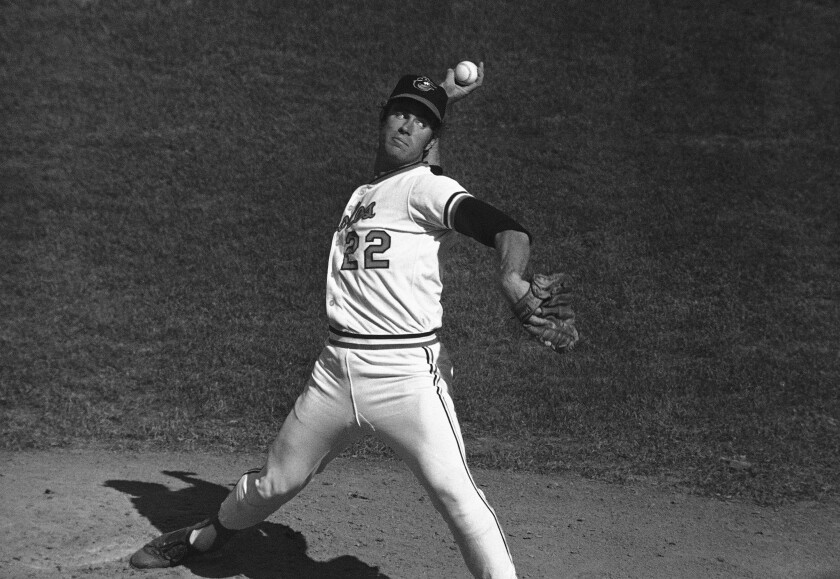 Baltimore pitcher Jim Palmer delivers during a World Series game.