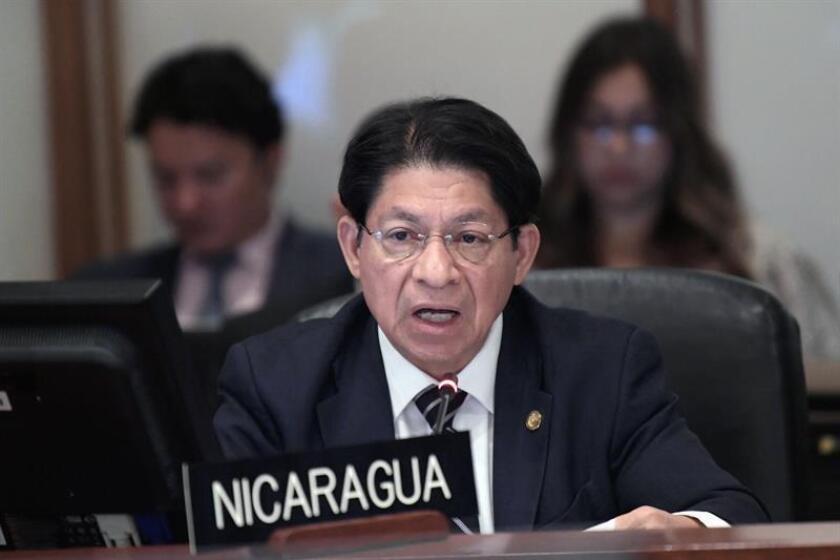 """El canciller nicaragüense, Denis Moncada, abordó hoy con el secretario general de la ONU, António Guterres, la """"necesidad del cese de la violencia"""" en el país y las posibilidades de lograr una solución dialogada a la crisis. EFE/ARCHIVO"""