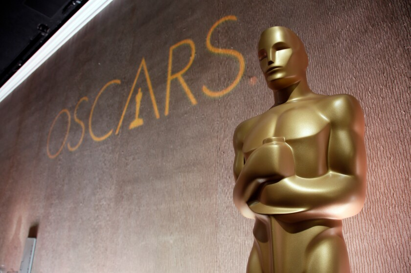 FILE - This Feb. 8, 2016 file photo shows a giant Oscar statuette at the 88th Academy Awards Nominees Luncheon in Beverly Hills, Calif. (Photo by Danny Moloshok/Invision/AP, File)