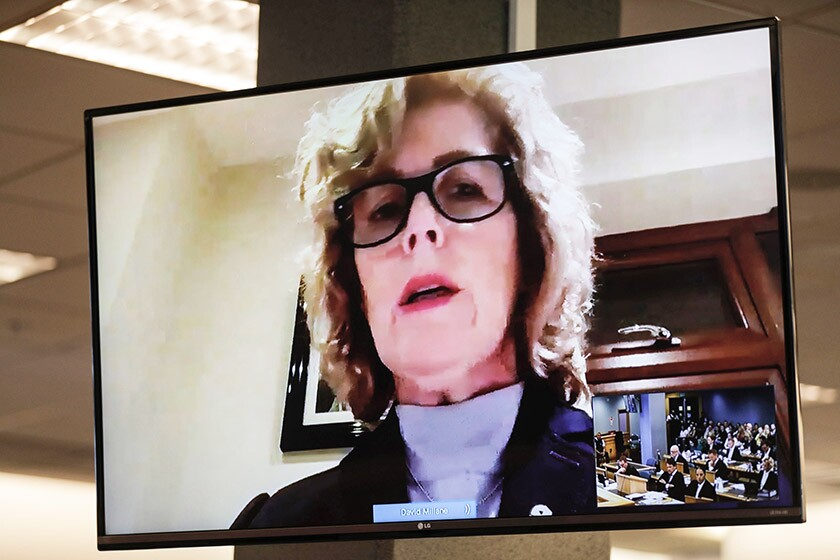 Gillian Millane, mother of Grace Millane, addresses the court via video link on Friday.