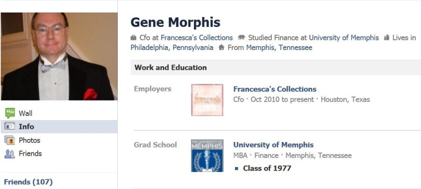 Retailer Francesca's said it fired its chief financial officer, Gene Morphis, over his social media activities.