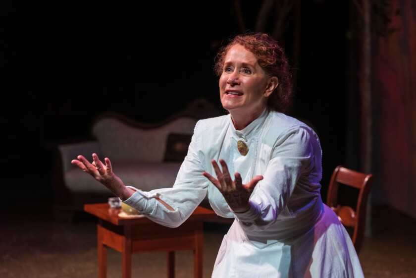 """Cynthia Gerber plays Emily Dickinson in Lamb's Players Theatre's """"The Belle of Amherst."""""""