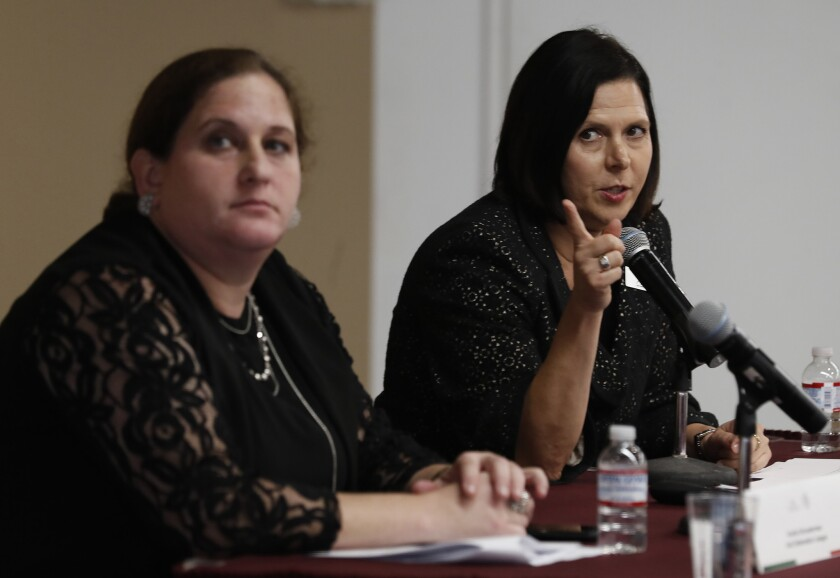 LOS ANGELES, CA-MAY 30, 2018: Ariella Schusterman, left, and Monica Bauer of the Anti Defamation Lea