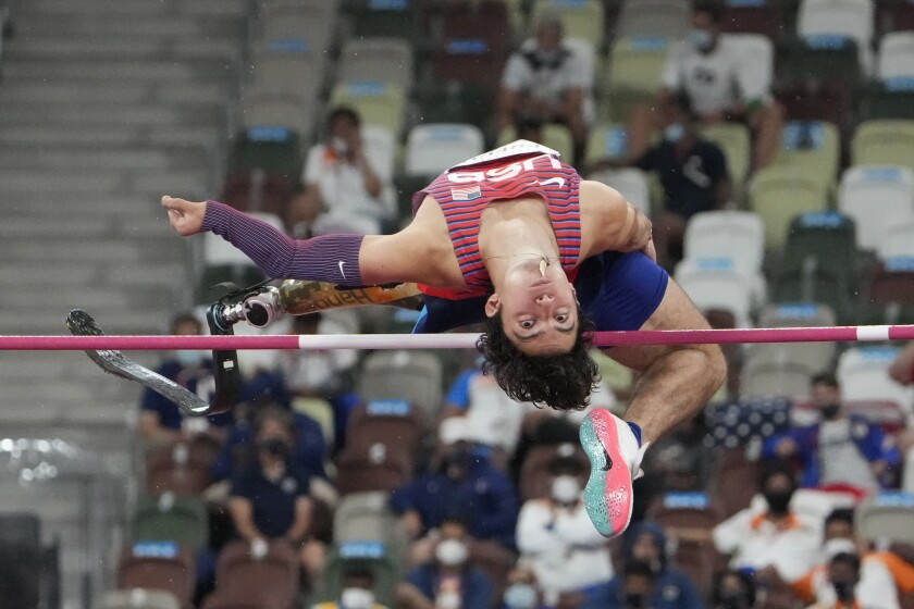 Ezra Frech in the men's high jump T63 final during the Tokyo Paralympics.