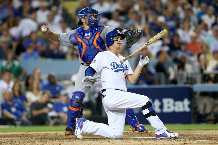 Dodgers outfielder Joc Pederson reacts after striking out against the New York Mets in the playoffs.