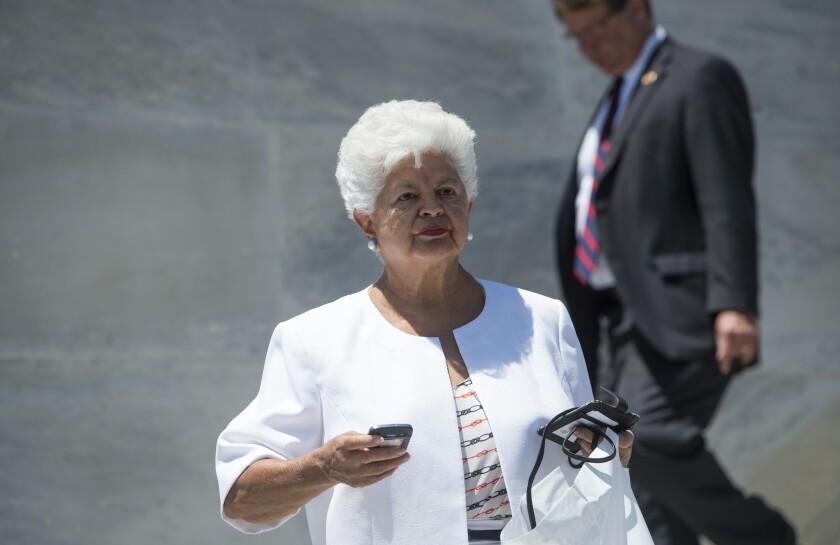 Rep. Grace Napolitano (D-Norwalk) in 2014. At a campaign stop in February, Napolitano suffered a minor stroke.