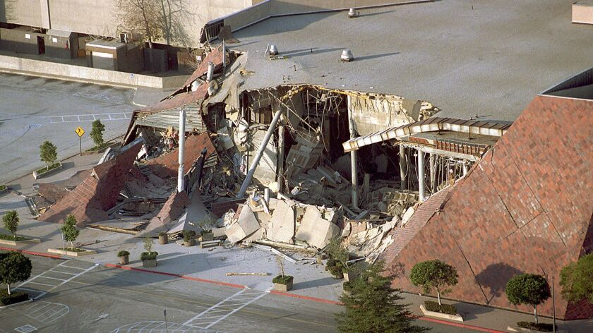 A portion of Los Angeles' Northridge Fashion Center is seen collapsed the day of the 1994 earthquake.