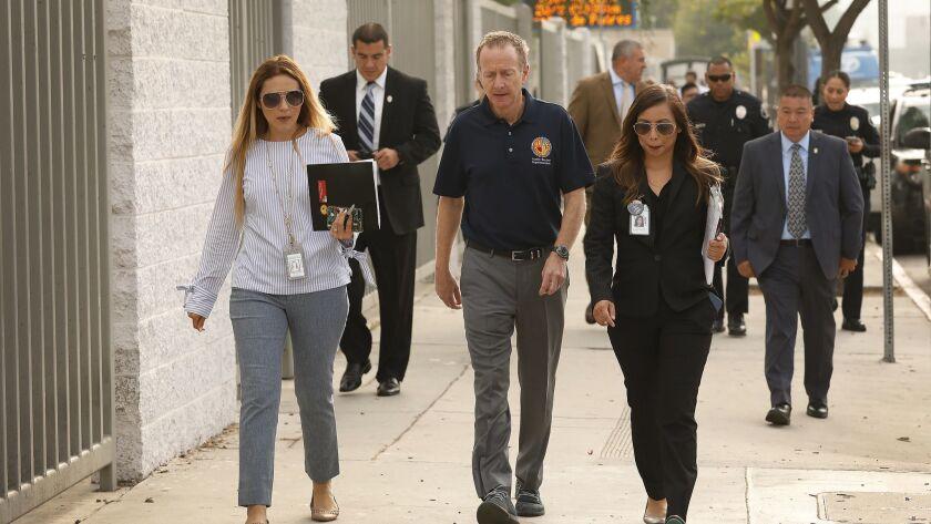 LOS ANGELES, CA – SEPTEMBER 06, 2018: LAUSD Superintendent Austin Beutner walks to the Jordan Down