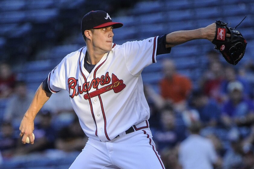 Atlanta Braves' Matt Wisler pitches against the San Diego Padres during the first inning of a baseball game, Wednesday, Aug. 31, 2016, in Atlanta. (AP Photo/John Amis)