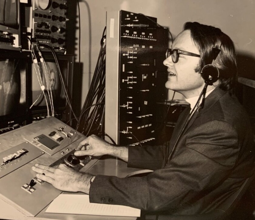 Bill English at the console of SRI's system in October 1968