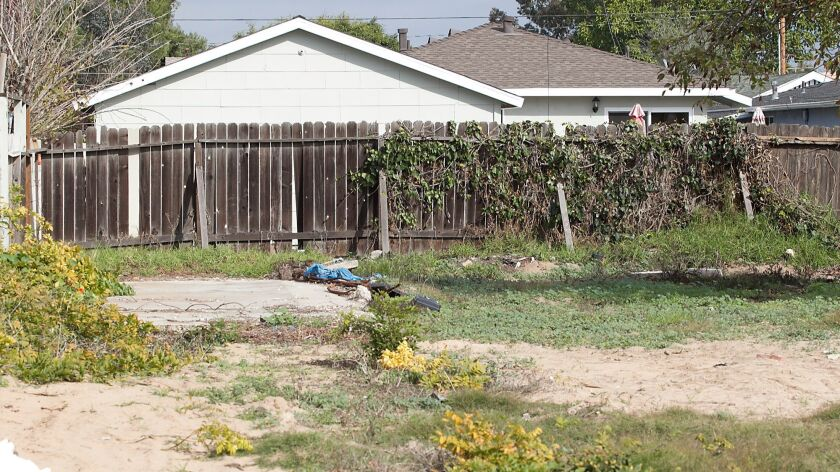 Where Phillip Richardson's home once stood on East 19th Street in Costa Mesa is now an empty lot.
