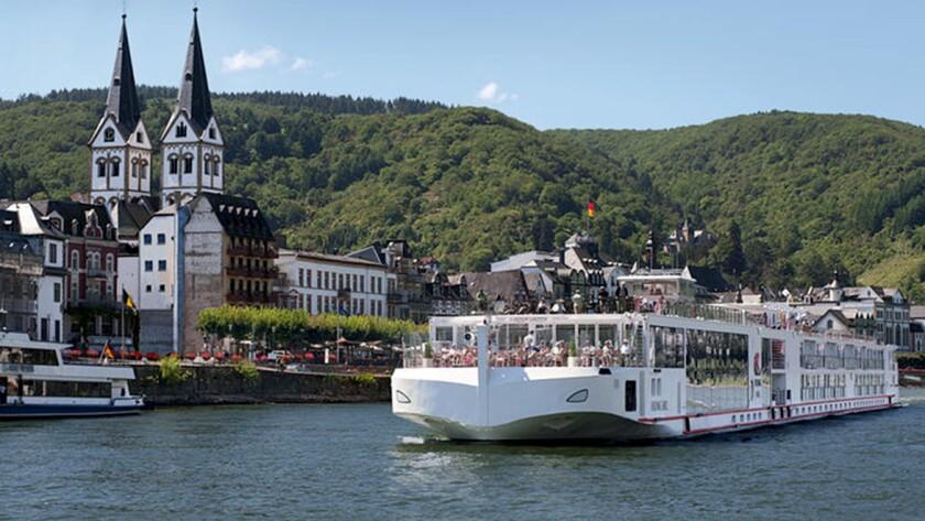 Viking's Jarl long ship cruises along the Rhine. Credit: Viking River Cruises