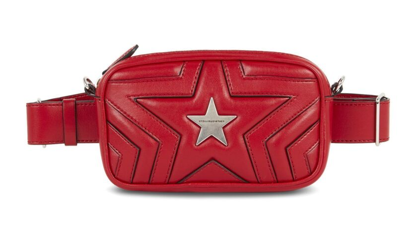 Vegetarian brand Stella McCartney's Red Stella Star Bum Bag is constructed from a leather-alternativ