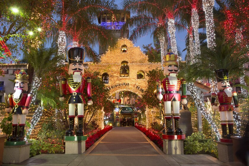 The main entrance to Riverside's Mission Inn is awash in lights that cover the entire block-size hotel during the four-week Festival of Lights, which starts this year on Nov. 29.