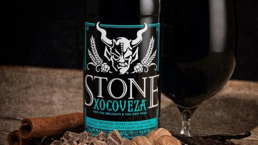 "Stone Brewing's new release, Xocoveza, is an ""insanely delicious take on Mexican hot chocolate"" with pasilla peppers, coffee, cocoa, vanilla and spices. (Stone Brewing Co.)"