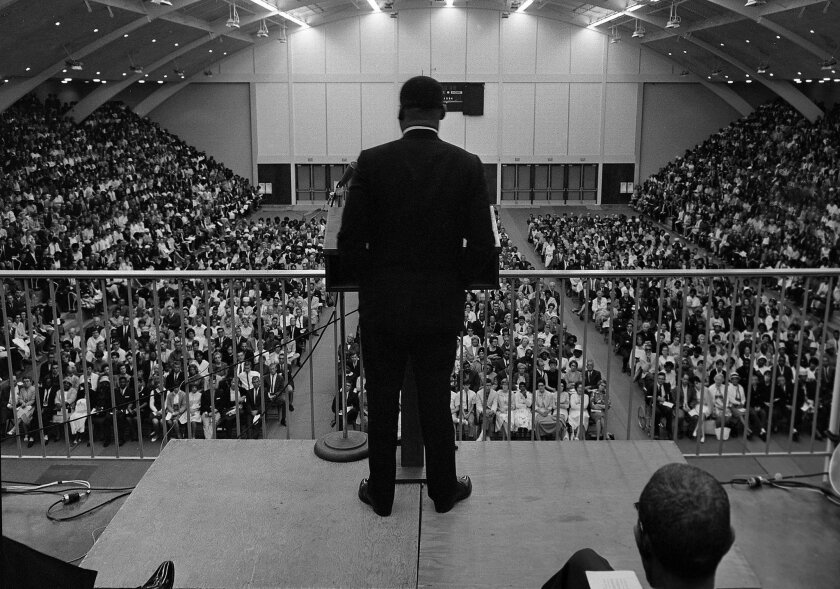 Rev. Martin Luther King appeared before a crowd of 5,000 at Golden Gymnasium at what was then the Point Loma campus of California Western University on May 29, 1964.