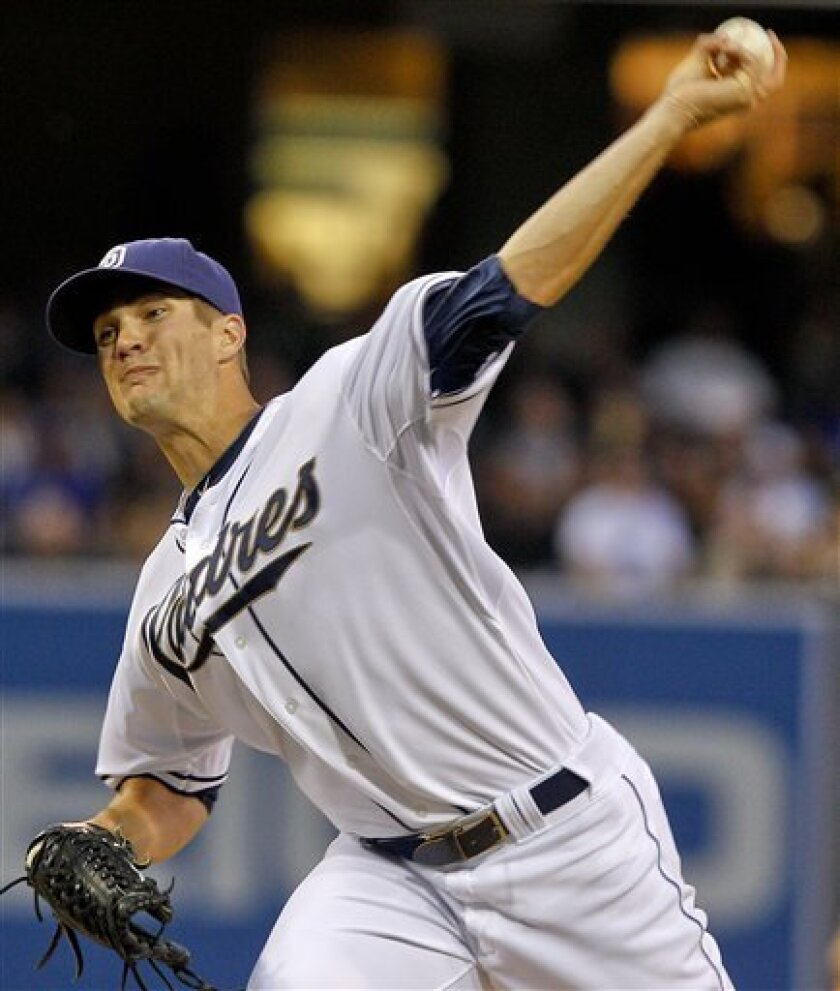 San Diego Padres pitcher Cory Luebke works trhe first inning against the Los Angeles Dodgers in a baseball game on Friday, April 6, 2012, in San Diego. (AP Photo/Lenny Ignelzi)