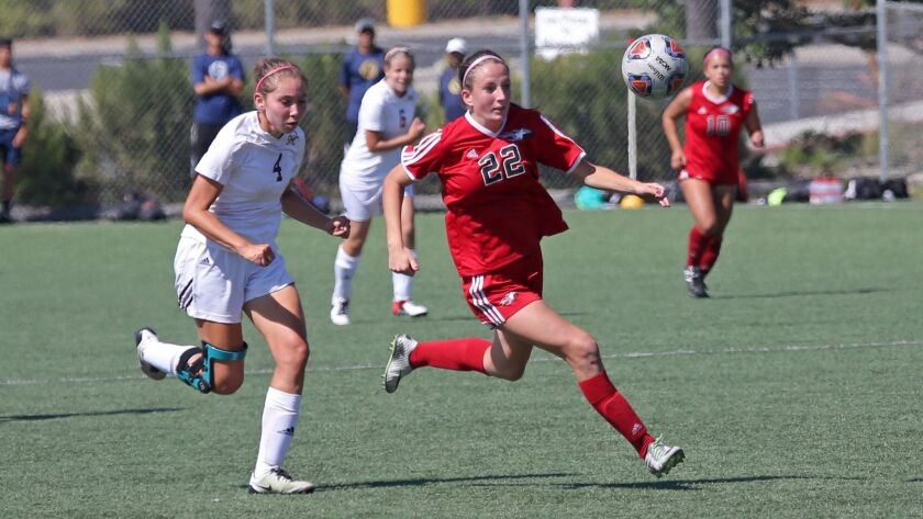 Grace Busby (22), who is enrolled in Palomar College's nursing program, was named all-conference last year with a team-high 13 goals.