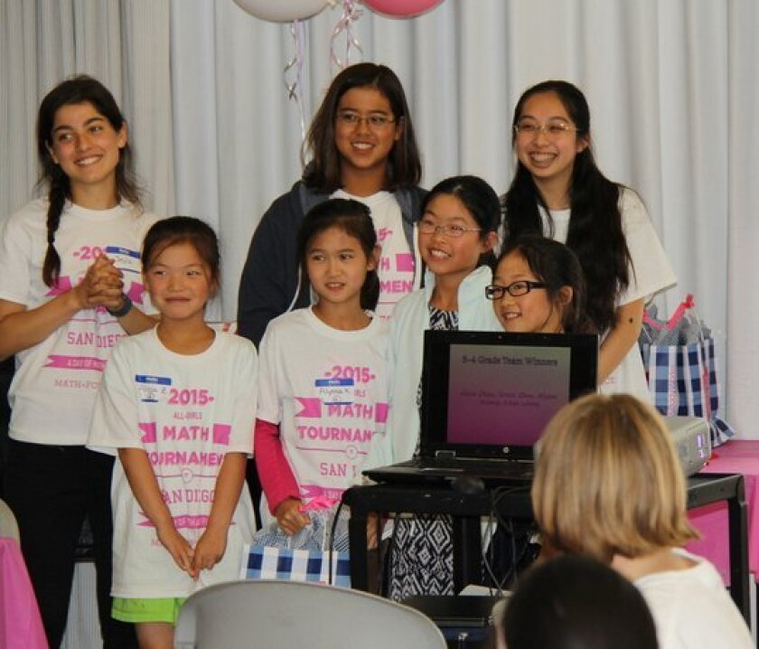 Back row: Eleni Fafoutis and Veronica Tang, center and right, at May's All-Girls Math Tournament at the Carmel Valley Library. Courtesy photo