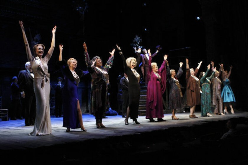 "Cast members perform during a dress rehearsal of James Goldman and Stephen Sondheim's ""Follies"" at the Ahmanson Theatre in Los Angeles May 3, 2012."