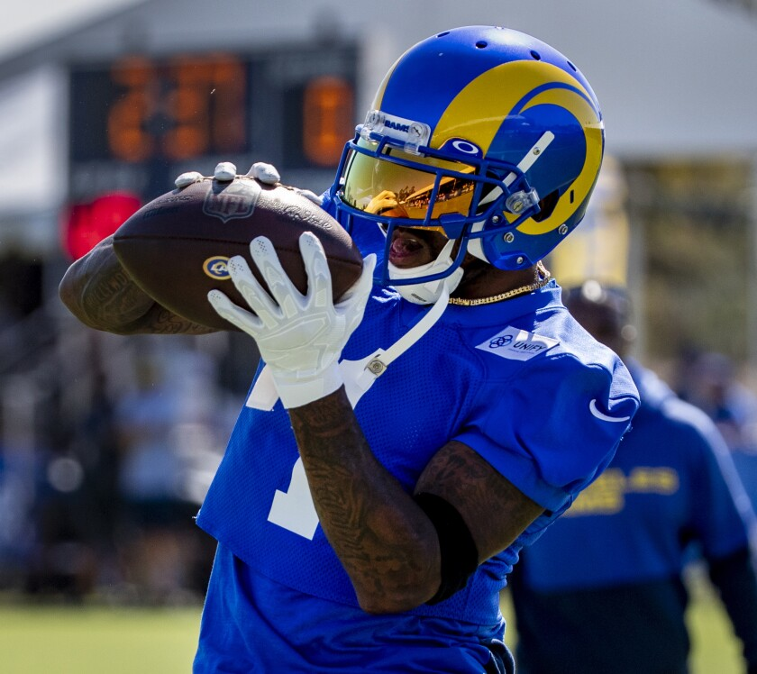 Rams' DeSean Jackson pulls in a pass on the first day of training camp at UC Irvine on July 28, 2021.