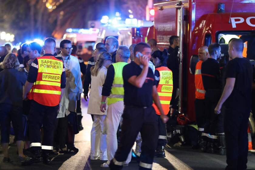 Scene of truck attack on the Promenade des Anglais in Nice.