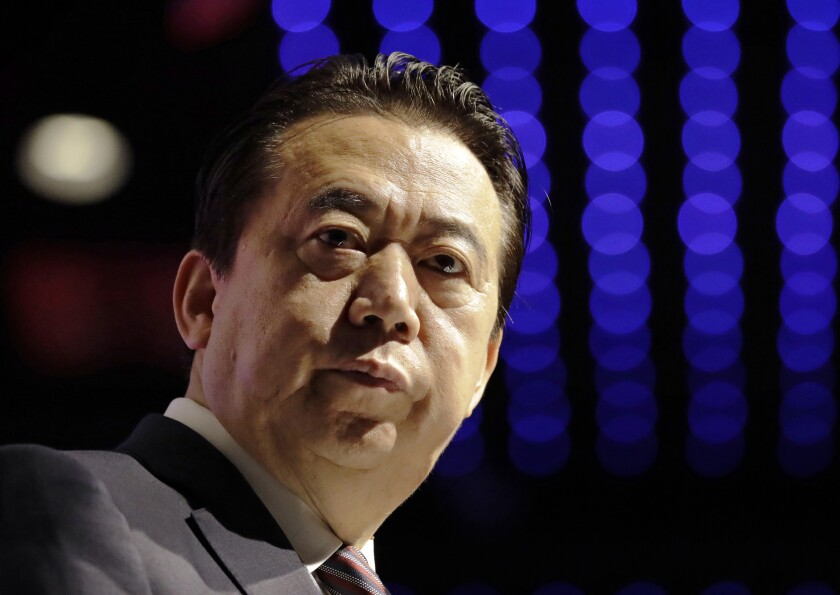 Meng Hongwei, then-president of Interpol, delivers his opening address at the Interpol World Congress in Singapore on July 4, 2017. China has sentenced Meng to 13 years and six months in prison on charges of accepting bribes.