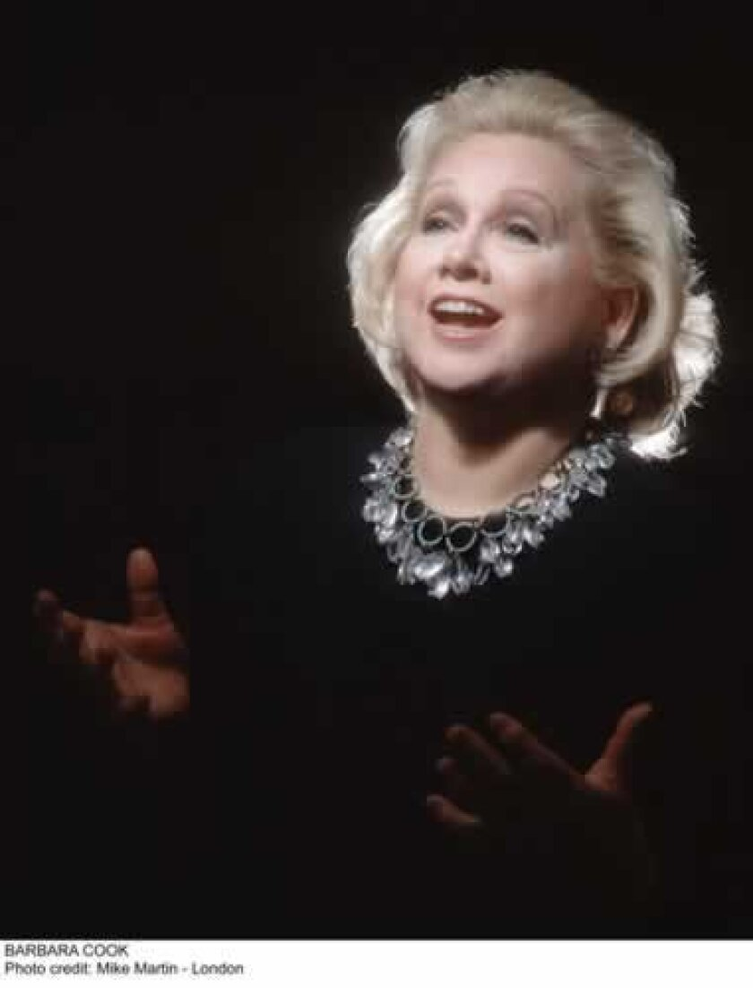 Barbara Cook plays Sherwood Auditorium as a guest of the La Jolla Music Society. Courtesy