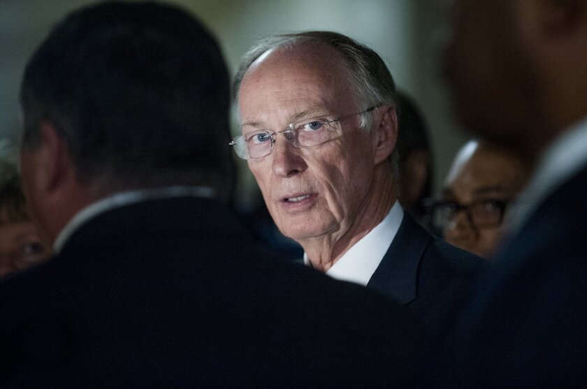 Alabama Governor Robert Bentley tours Tutwiler Prison for Women in Wetumpka, Ala. on Thursday March 31, 2016 as he promotes his new prison construction plan. Bentley tried to focus on his political agenda, despite being dogged by questions about his relationship with a former aide. (Mickey Welsh/The Montgomery Advertiser via AP) NO SALES; MANDATORY CREDIT