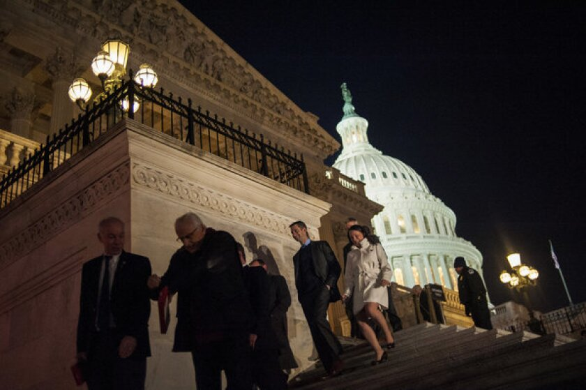 Members of the House of Representatives leave the U.S. Capitol following a budget deal vote in Washington, D.C.