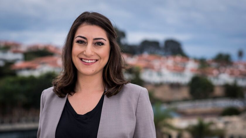 Sara Jacobs films a campaign announcement video in Encinitas, CA on Tuesday November 7, 2017.