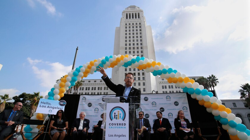 Peter Lee, executive director of Covered California, speaks at a kickoff news conference for the state healthcare insurance exchange in downtown Los Angeles in November 2014.