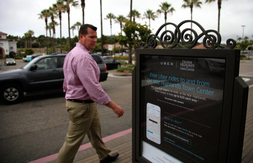 A sign at the Del Mar Highlands Town Center promotes the soon-to-be defunct free-ride offer.