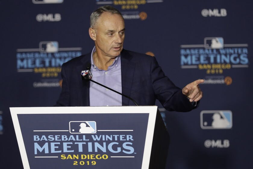 Commissioner Rob Manfred speaks during the Baseball Winter Meetings on Wednesday at the Manchester Grand Hyatt.