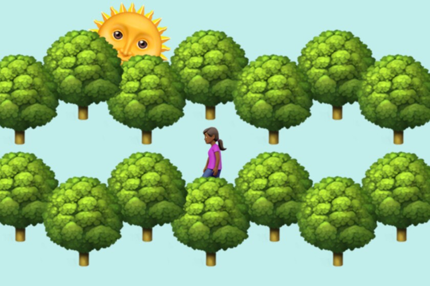 Emoji illustration of trees, sun and a woman hiking.
