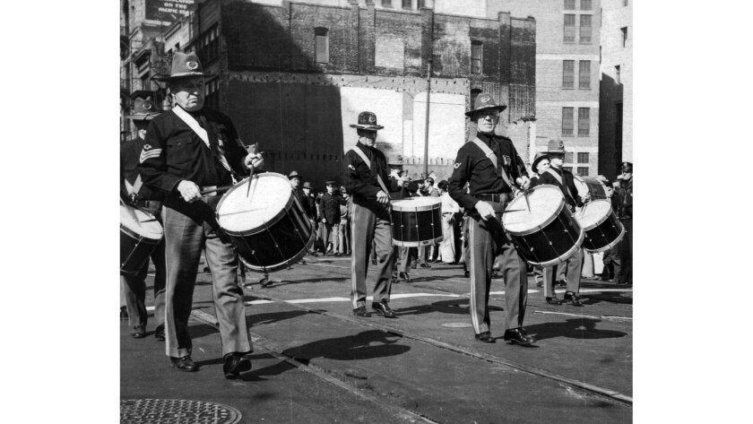 Nov. 11, 1935: Veterans of the Spanish American War march in the annual Armistice Day parade in Los