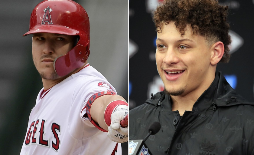 Angels outfielder Mike Trout, left, and Kansas Chiefs quarterback Patrick Mahomes.