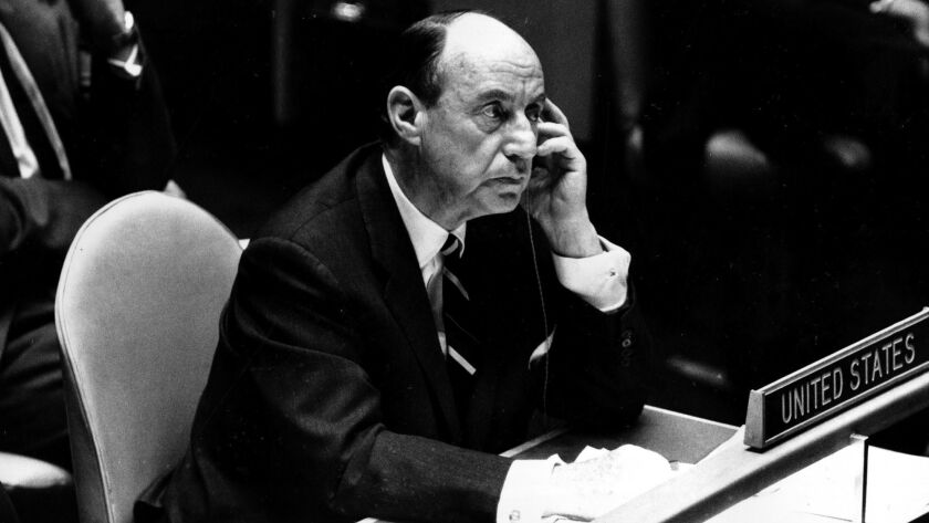 Adlai Stevenson, U.S. Ambassador to the United Nations, in the General Assembly chamber of the U.N. in New York City on Feb. 10, 1965.