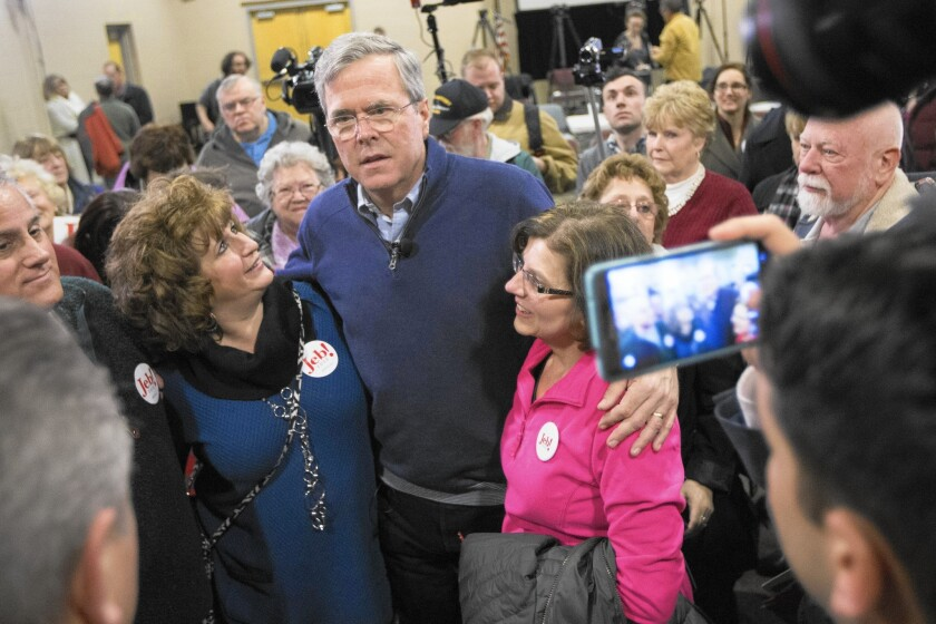 Jeb Bush, center, at a campaign stop in Pelham, N.H., on Jan. 23. A super PAC has spent at least $60 million on ads for Bush, but he remains stuck at about 6% in polls.