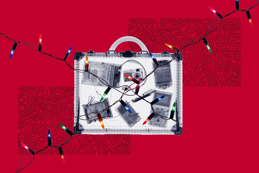 Illustration of suitcase with Christmas lights